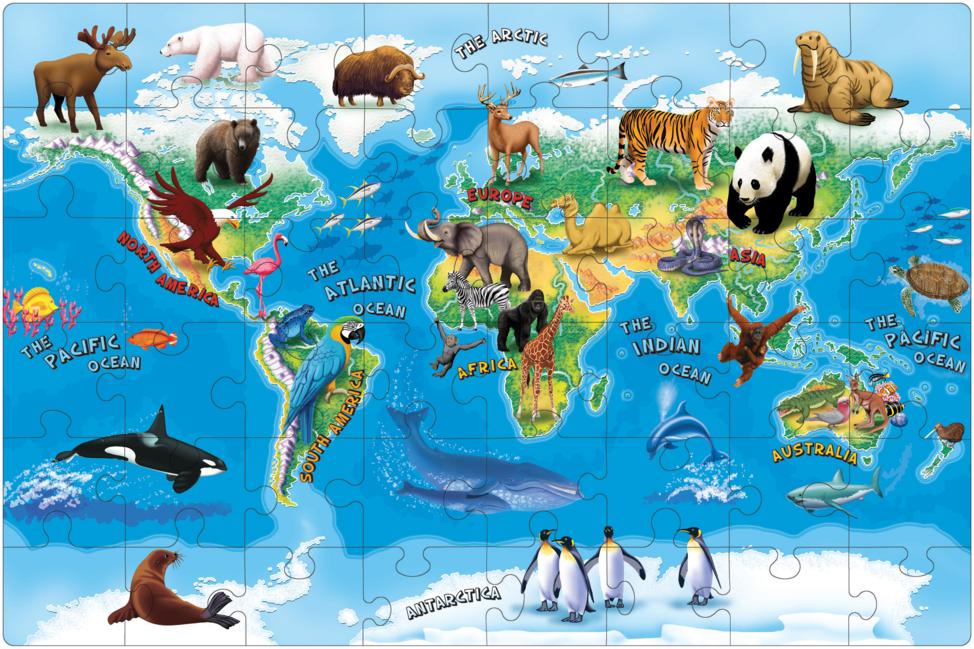 """Puzzle na podlahu """"Zvieratá sveta"""