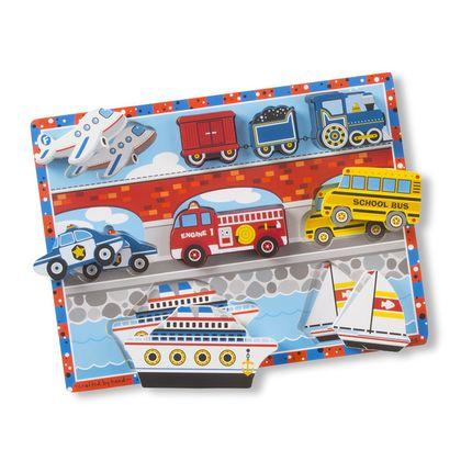 Vozidlá - drevené kusové puzzle